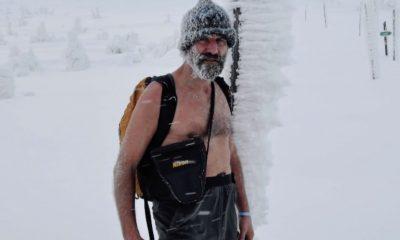 Wim Hof walking in the snow