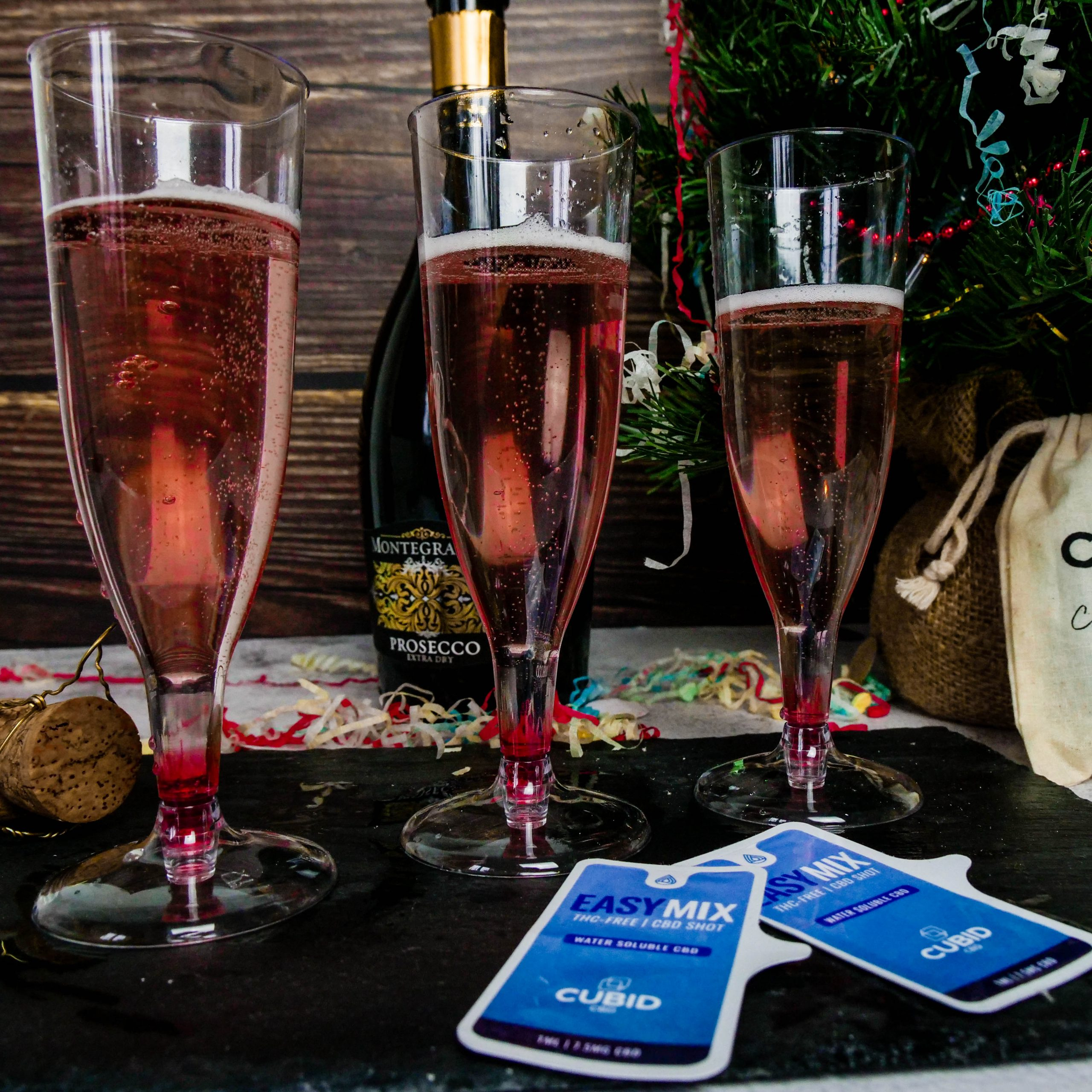 prosecco with oil shot sachets