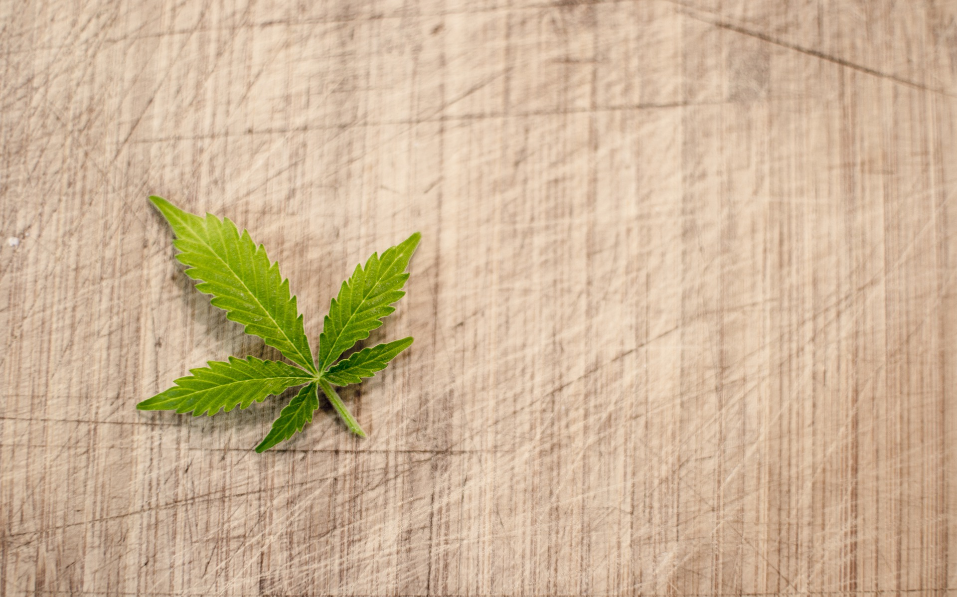A small green cannabis leaf on a wicker mat