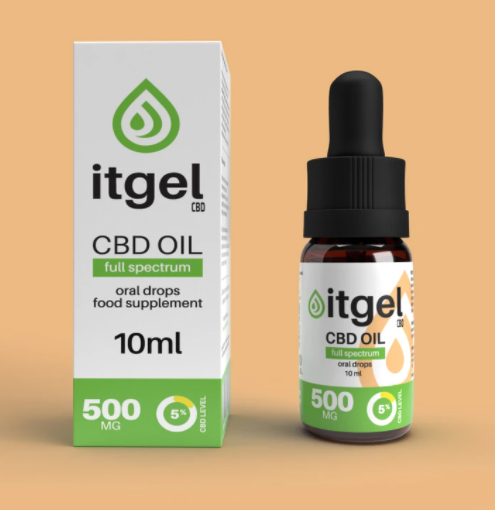 A brown bottle of CBD oil next to its white box with a green logo. The products are on a light orange background.