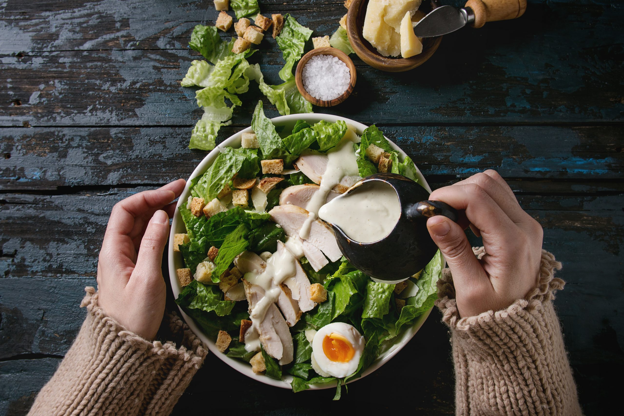 Chicken salad drizzled with our CBD salad dressing.